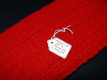 Red Twin-Rib Scarf